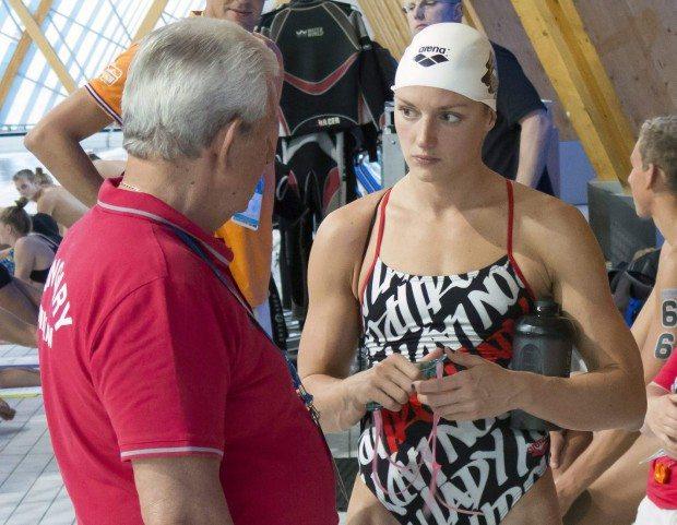A magyar úszóválogatott edzése Kazanyban - Kiss László és Hosszú Katinka - MTI Fotó: Kovács Anikó