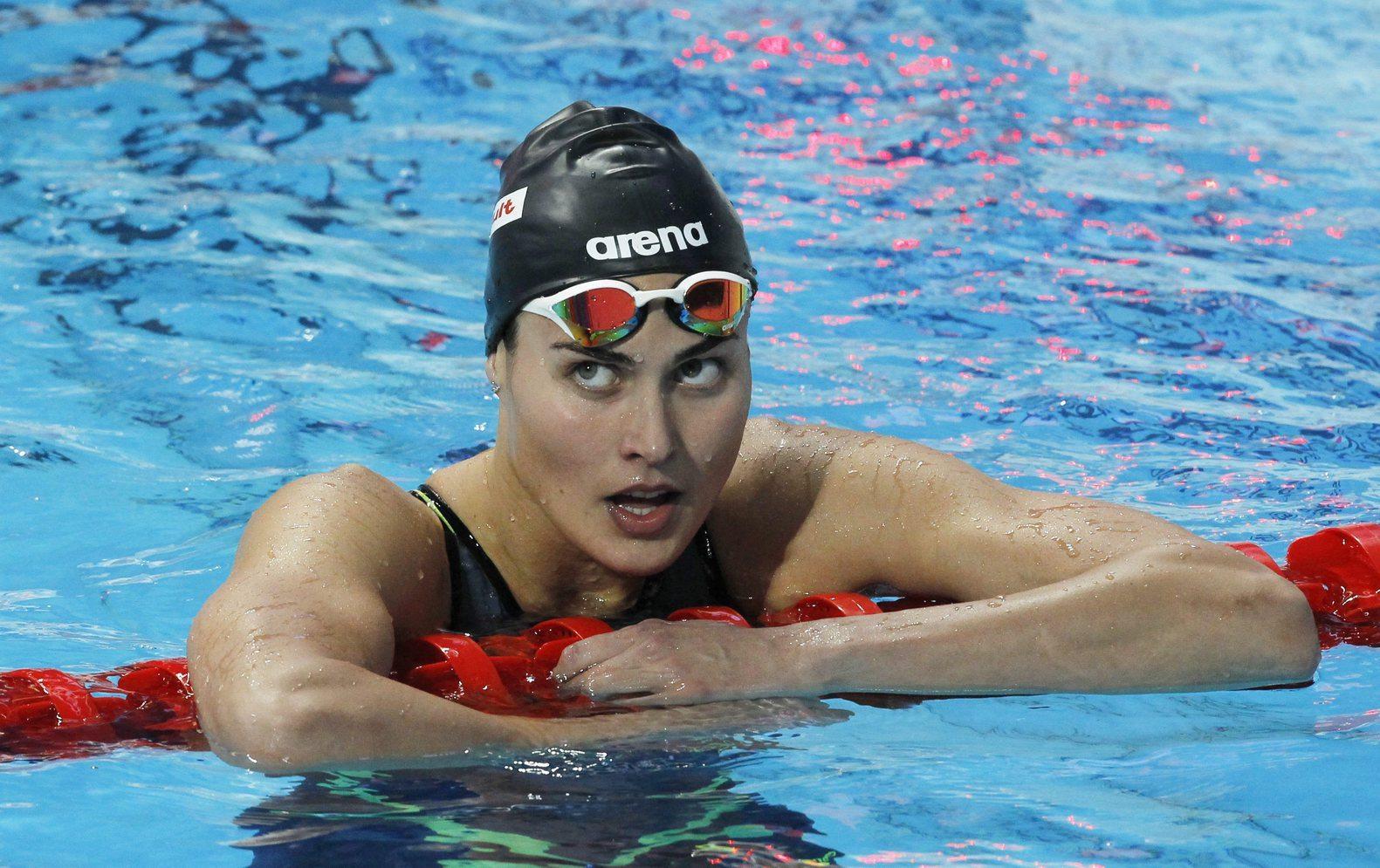 Jakabos Zsuzsanna a célban a 200 méteres vegyes úszás elődöntőjében a kazanyi vizes világbajnokságon. MTI Fotó: Kovács Anikó