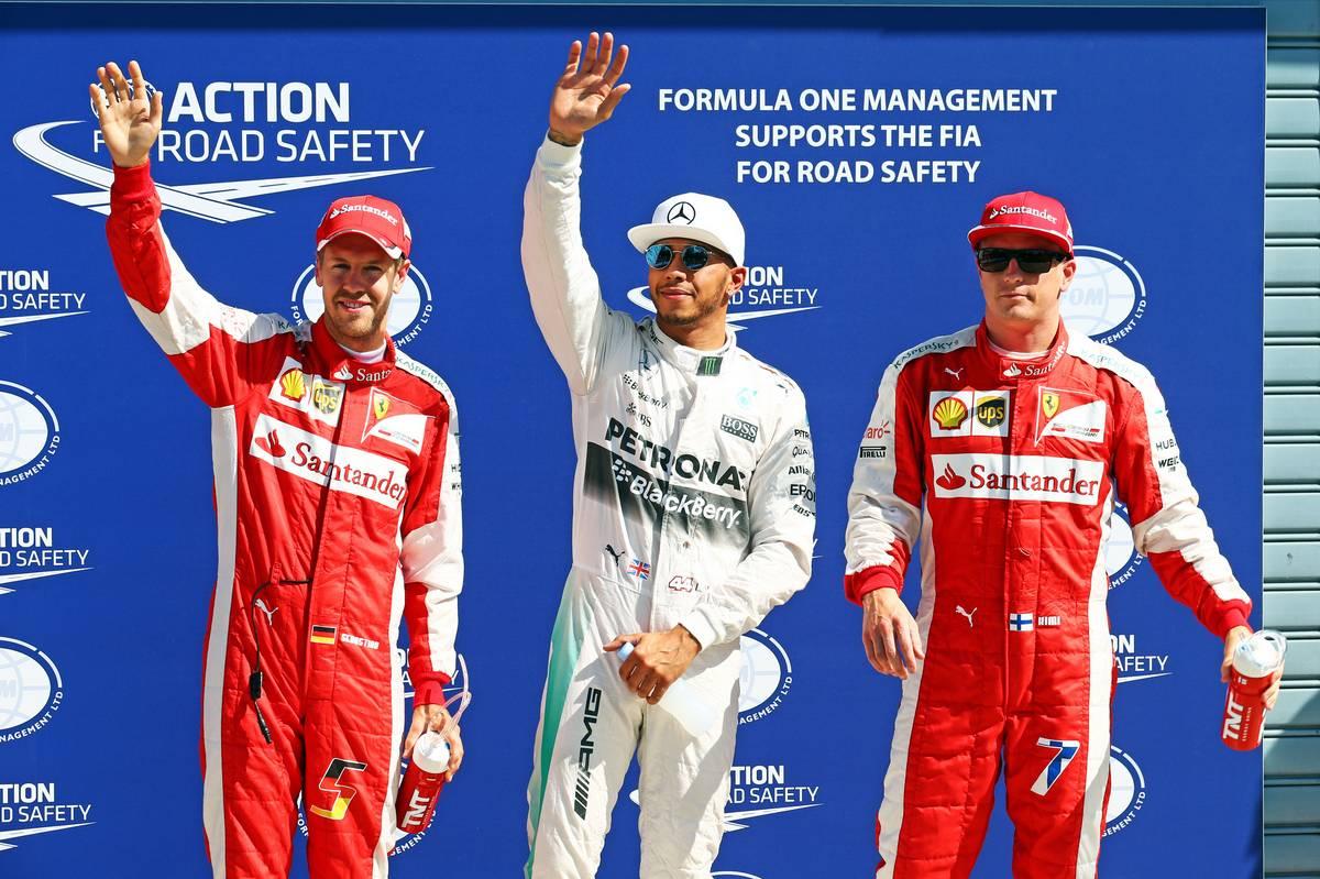 Sebastian Vettel, Lewis Hamilton, Kimi Räikkönen (Fotó: Batchelor / XPB Images)
