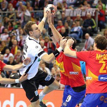Németország-Spanyolország férfi kézilabda Eb-döntő - Kai Hafner - fotó: MTI/EPA/Stanislaw Rozpedzik