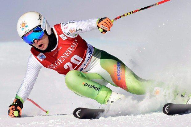 Lake Louise, 2015. február 12. Miklós Edit az alpesi síelők világbajnoksága női óriás-műlesiklásának egyik edzésén a kanadai Lake Louise-ban 2015. december 2-án. (MTI/AP/The Canadian Press/Frank Gunn)