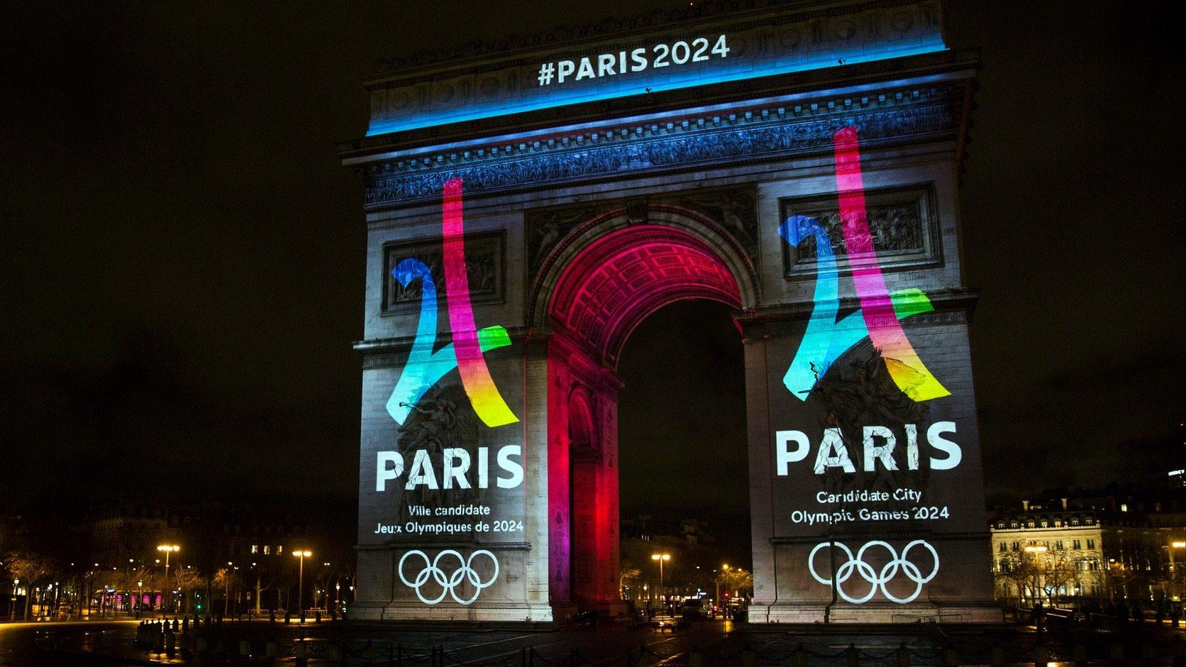 A párizsi olimpiai pályázat logója - fotó: EPA/Etienne Laurent