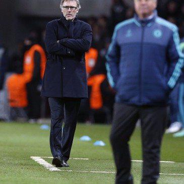 PSG-Chelsea BL-nyolcaddöntő - Laurent Blanc és Guus Hiddink - fotó: EPA/Yoan Valat