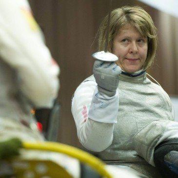 Danyi Gyöngyi, a magyar női tőrcsapat tagja a kerekesszékes vívó világkupán Egerben 201. február 14-én. MTI Fotó: Koszticsák Szilárd