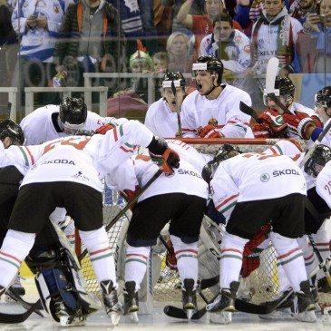 A magyar csapat a jégkorong olimpiai selejtező torna második fordulójában játszott Magyarország-Észtország mérkőzésen a Papp László Sportarénában 2016. február 12-én. MTI Fotó: Kovács Tamás