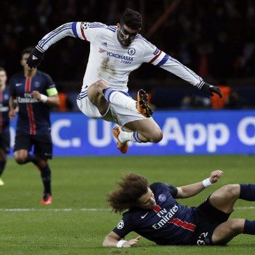 PSG-Chelsea - Diego Costa és David Luiz - fotó: MTI/EPA/Etienne Laurent