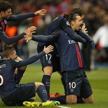 PSG-Chelsea - Zlatan Ibrahimovic gólöröme - fotó: MTI/AP/Christophe Ena