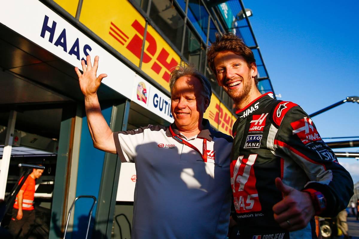 Gene Haas és Romain Grosjean ünneplése Ausztráliában (Fotó: xpbimages.com)