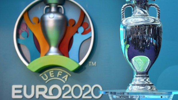 epa05550492 The UEFA championship trophy during  unveiling of the UEFA EURO 2020 tournament and the host city Logo in the City Hall in London, Britain 21 September 2016.  EPA/FACUNDO ARRIZABALAGA