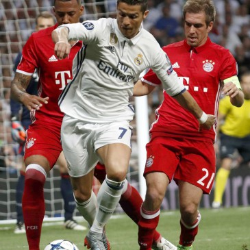 Real Madrid-Bayern München - Cristiano Ronaldo, Philipp Lahm és Jerome Boateng (Fotó: EPA/ZIPI)