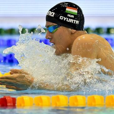 A későbbi győztes Gyurta Gergely a 400 méteres vegyes úszás döntőjében az úszók országos bajnokságán a Debreceni Sportuszodában 2017. április 21-én. MTI Fotó: Czeglédi Zsolt