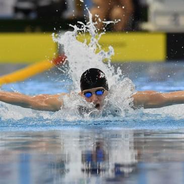 A későbbi győztes Hosszú Katinka a 400 méteres vegyes úszás döntőjében az úszók országos bajnokságán a Debreceni Sportuszodában 2017. április 21-én. MTI Fotó: Czeglédi Zsolt
