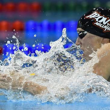 A későbbi győztes Hosszú Katinka a 400 méteres vegyes úszás döntőjében az úszók országos bajnokságán a Debreceni Sportuszodában 2017. április 21-én MTI Fotó: Czeglédi Zsolt
