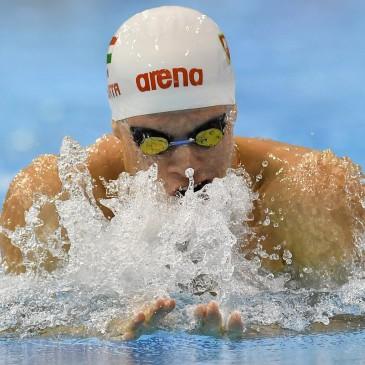 A későbbi győztes Gyurta Dániel a 100 méteres mellúszás döntőjében az úszók országos bajnokságán a Debreceni Sportuszodában 2017. április 21-én. MTI Fotó: Czeglédi Zsolt