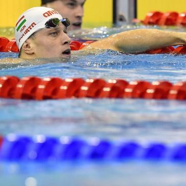 A győztes Gyurta Dániel a 100 méteres mellúszás döntője után az úszók országos bajnokságán a Debreceni Sportuszodában 2017. április 21-én. MTI Fotó: Czeglédi Zsolt