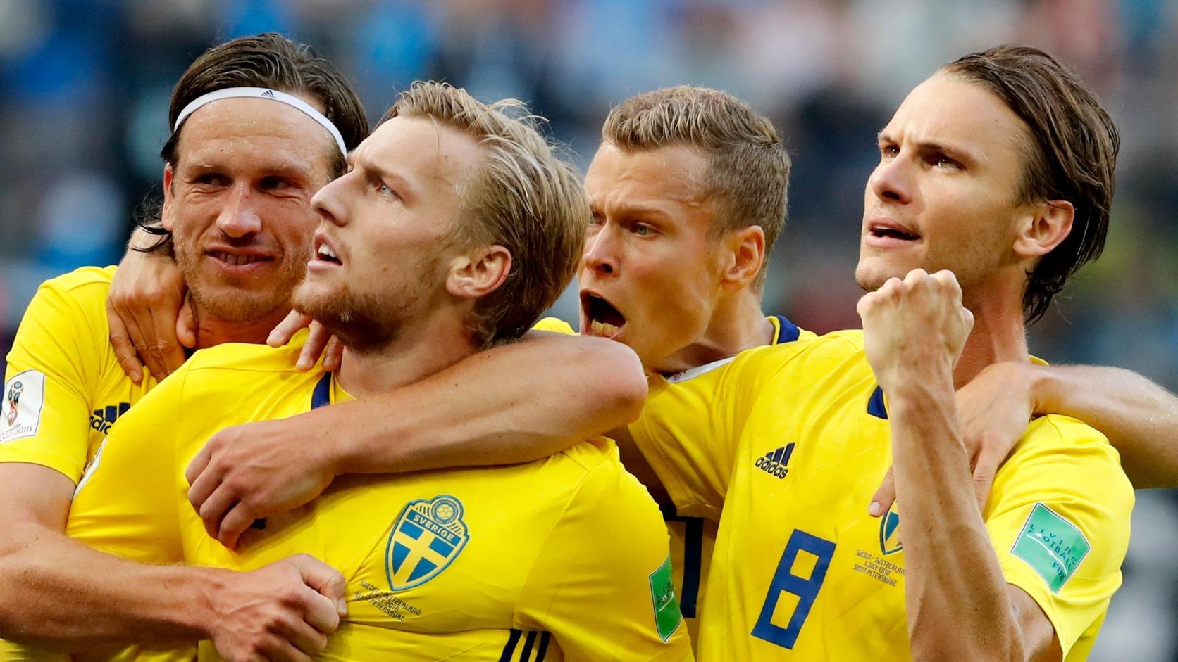 Svéd gólöröm a Svájc elleni vb-nyolcaddöntőben (Fotó: EPA/Anatolij Malcev)