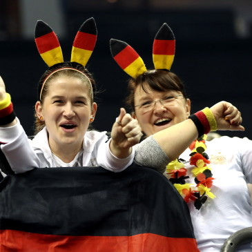 epa07273583 Supporters of Germany cheer before the match between Germany and Korea at the IHF Men's Handball World Championship in Berlin, Germany, 10 January 2019.  EPA/HAYOUNG JEON