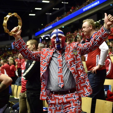 epa07325442 A Norwegian fan before the men's IHF Handball World Championship final match between Denmark and Norway in Herning, Denmark, 26 January 2019.  EPA/BO AMSTRUP DENMARK OUT