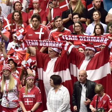 epa07325604 Danish fans during the men's IHF Handball World Championship final match between Denmark and Norway in Herning, Denmark, 26 January 2019.  EPA/BO AMSTRUP DENMARK OUT