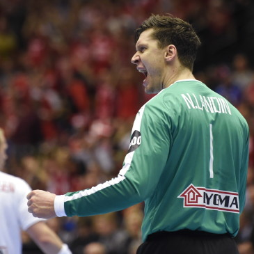 epa07325607 Denmark's goalkeeper Niklas Landin during the men's IHF Handball World Championship final match between Denmark and Norway in Herning, Denmark, 26 January 2019.  EPA/LISELOTTE SABROE DENMARK OUT