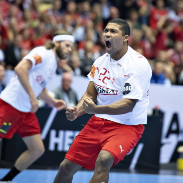 epa07325609 Mads Mensah of Denmark during the men's IHF Handball World Championship final match between Denmark and Norway in Herning, Denmark, 26 January 2019.  EPA/HENNING BAGGER DENMARK OUT