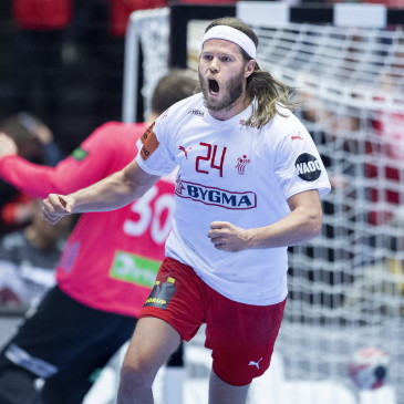 epa07325676 Mikkel Hansen of Denmark during the men's IHF Handball World Championship finale between Denmark-Norway in Herning, Denmark, 26 January 2019.  EPA/LISELOTTE SABROE DENMARK OUT