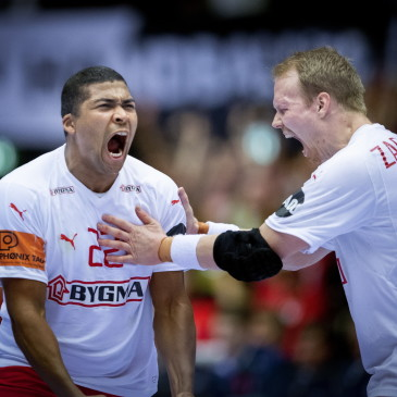 epa07325677 Mads Mensah and Anders Zachariassen of Denmark during the men's IHF Handball World Championship finale between Denmark-Norway in Herning, Denmark, 26 January 2019.  EPA/LISELOTTE SABROE DENMARK OUT