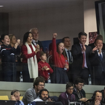 epa07325688 The Danish royal family and Prime Minister Lars Lokke Rasmussen during the men's IHF Handball World Championship final match between Norway and Denmark in Herning, Denmark, 26 January 2019.  EPA/BO AMSTRUP DENMARK OUT