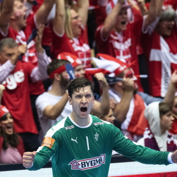 epa07325700 Niklas Landin of Denmark during the men's IHF Handball World Championship final match between Norway and Denmark in Herning, Denmark, 26 January 2019.  EPA/BO AMSTRUP DENMARK OUT