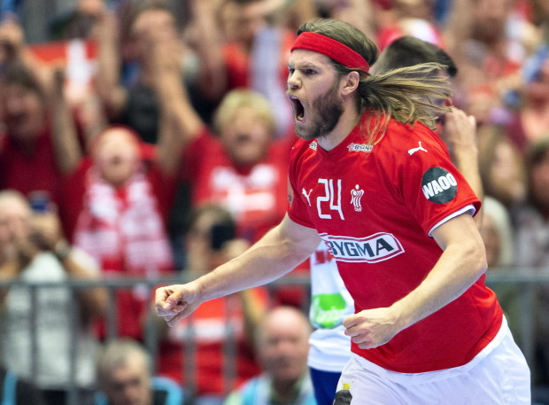epa07294452 Mikkel Hansen of Denmark celebrates a score during the men's IHF Handball World Championship Group C match between Denmark and Norway in Herning, Denmark, 17 January 2019. EPA/HENNING BAGGER DENMARK OUT epa07294452 Mikkel Hansen of Denmark celebrates a score during the men's IHF Handball World Championship Group C match between Denmark and Norway in Herning, Denmark, 17 January 2019. EPA/HENNING BAGGER DENMARK OUT