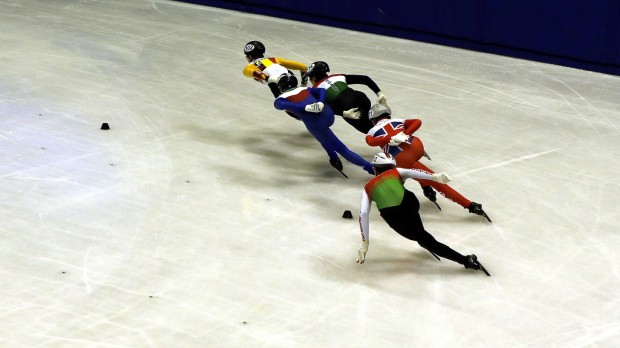 epa07362082 Athletes compete in the Short Track speed skating during the Winter European Youth Olympic Festival (EYOF) in Sarajevo, Bosnia and Herzegovina, 11 February 2019. The City of Sarajevo and East Sarajevo hosts the 2019 Winter European Youth Olympic Festival from February 10 to 16.  EPA/FEHIM DEMIR