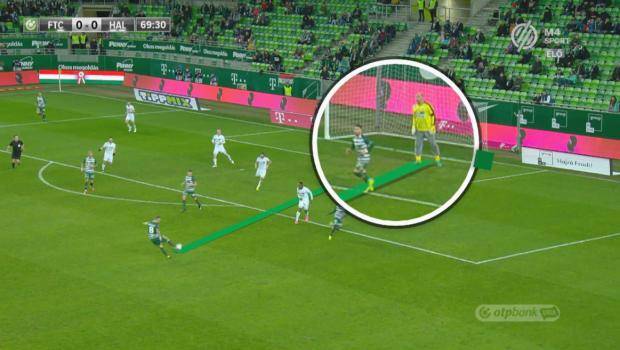 Lovrencsics Gergő lövésének pillanatában Gorriarán láthatóan Király Gábor és a labda között állt. (m4sport.hu)